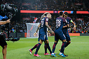 Layvin Kurzawa (psg) celebrated it goal scored from a decisive ball kicked by Neymar da Silva Santos Junior - Neymar Jr (PSG), celebration with Daniel Alves da Silva (PSG), Neymar da Silva Santos Junior - Neymar Jr (PSG) and Thiago Silva (PSG)during the French championship L1 football match between Paris Saint-Germain (PSG) and Toulouse Football Club, on August 20, 2017, at Parc des Princes, in Paris, France - Photo Stephane Allaman / ProSportsImages / DPPI