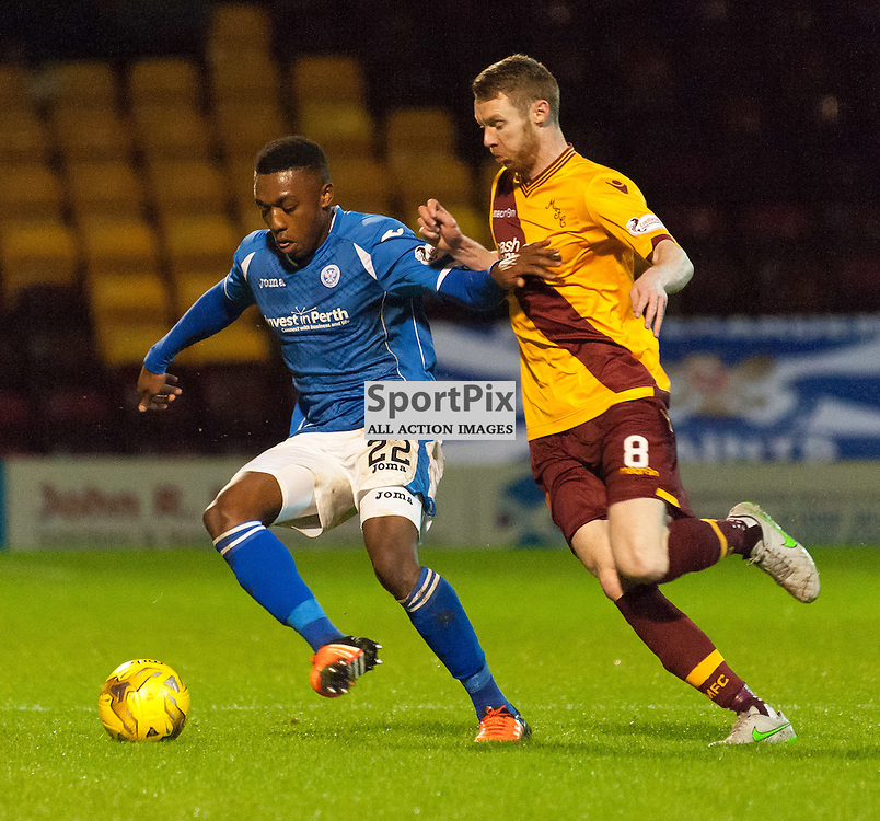 #22 Darnell Fisher (St Johnstone) and #8 Stephen Pearson (Motherwell) • Motherwell v St Johnstone • SPFL Premiership • 30 December 2015 • © Russel Hutcheson | SportPix.org.uk