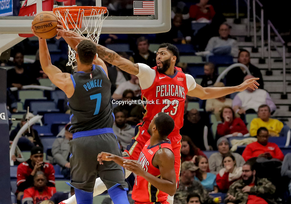 Dec 5, 2018; New Orleans, LA, USA; New Orleans Pelicans forward Anthony Davis (23) defends against Dallas Mavericks forward Dwight Powell (7) during the second half at the Smoothie King Center. Mandatory Credit: Derick E. Hingle-USA TODAY Sports