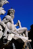 Italie - Latium - Rome - Place Navona - Fontaine des fleuves
