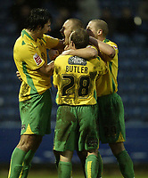 Photo: Aidan Ellis.<br /> Huddersfield Town v Swansea City. Coca Cola League 1. 30/12/2006.<br /> swansea's Lee Trundle (C) celebrates his second goal with Rory Fallon and Thomas Butler