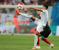 July 11, 2018 - Moscow, U.S. - MOSCOW, RUSSIA - JULY 11: Midfielder Jesse Lingard of England National team and Defender Ivan Strinic of Croatia National team during the semifinal match between Croatia and England at the FIFA World Cup on July 11, 2018 at the Luzhniki Stadium  in Moscow, Russia. (Photo by Anatoliy Medved/Icon Sportswire) (Credit Image: © Anatoliy Medved/Icon SMI via ZUMA Press)