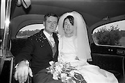05/07/1967<br /> 07/05/1967<br /> 05 July 1967<br /> Wedding of George Walsh, eldest son of Mr and Ms Kevin G. Walsh, St. Rita's, Firhouse Road, Templeogue, Co. Dublin and Miss Arlene McMahon, elder daughter of Det. Chief Supt. Philip McMahon, Head of Special Branch, Dublin Castle and Mrs McMahon of Lisieux, Templeville Park, Templeogue, Co. Dublin who were married at the Carmelite Church, Terenure College, Dublin. An Taoiseach Mr Jack Lynch and Mrs Lynch; Mr Liam Cosgrave, leader Fine Gael and Mrs Cosgrave were among the 120 guests. Rev Fr H.E. Wright, O. Carm., Moate, officiated at the ceremony. The reception was held at Downshire Hotel, Blessington, Co. Wicklow. Couple in the wedding car after the ceremony.
