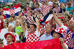 Fans of Croatia during basketball match between National teams of Lithuania and Croatia in Semifinals at Day 17 of Eurobasket 2013 on September 20, 2013 in Arena Stozice, Ljubljana, Slovenia. (Photo by Vid Ponikvar / Sportida.com)