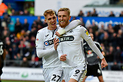 Goal -  Oli McBurnie (9) of Swansea City celebrates scoring a goal from the penalty spot to give a 1-0 lead to the home team with Jay Fulton (27) of Swansea City during the EFL Sky Bet Championship match between Swansea City and Reading at the Liberty Stadium, Swansea, Wales on 27 October 2018.