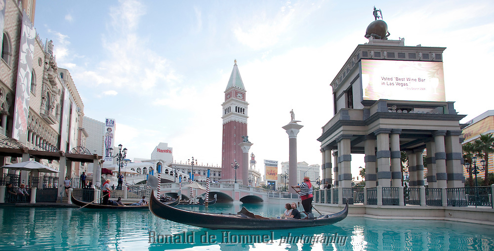 The Venetian Casino Resort in Las Vegas is criss crossed by several canals where gondolas ferry tourists around.<br /> The Las Vegas Strip uses 3% of al the water in Las Vegas. Pat Mulroy, director of the Southern Nevada Water Authority praises the cooperation of the Casino owners in her efforts to curb water waste.<br /> According to a plaque near the entrance to the Casino,  &quot;This feature is operating in compliance with the drought ordinance. A water efficiency and drought response plan is on file with the Southern Nevada Water Authority.&quot; <br /> <br /> Photo: Johannes Abeling / Ronald de Hommel