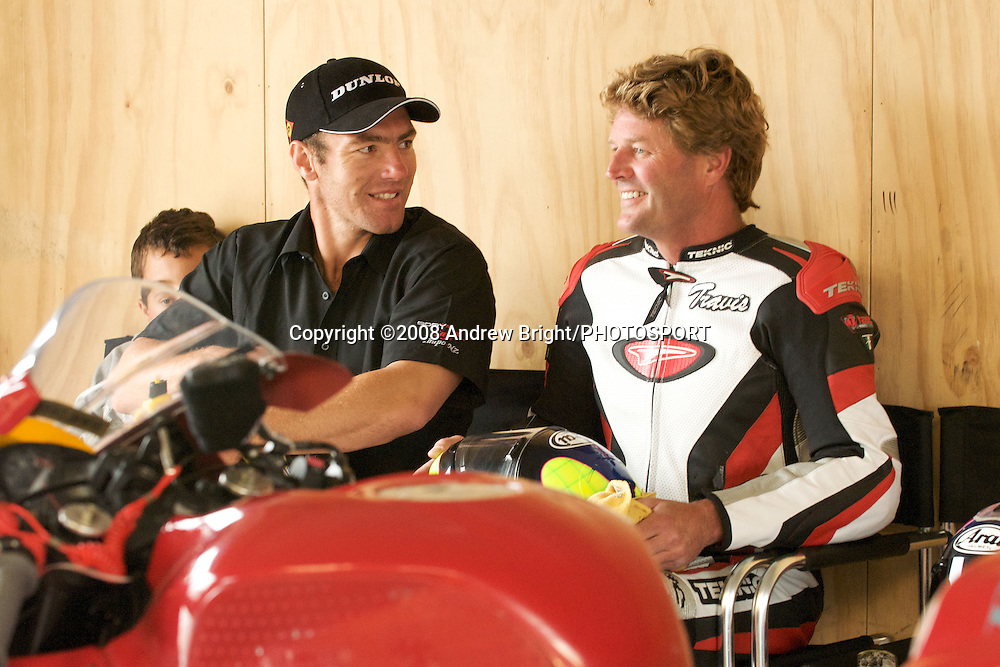 Jamie Rajek L and Fred Merkel R talk before the B.A.D.D. 3 hour endurance motorcycle race at Taupo Motorsport Park. Monday 29th December 2008. Photo: Andrew Bright/PHOTOSPORT