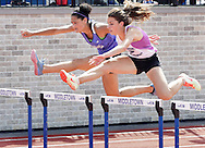 Ciarra Holmes of Wallkill, left, and Monroe-Woodbury's Christina Zelanoy go over a hurdles during the 100-meter hurdles at the Section 9 track and field state qualifying meet at Middletown on Friday, May 31, 2013. Holmes and Zelanoy finished first and second and both qualified for the state championship meet next Friday and Saturday in Middletown.