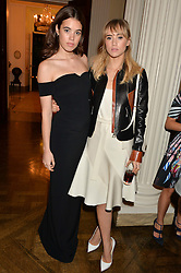 Left to right, GALA GORDON and SUKI WATERHOUSE at a party hosed by the US Ambassador to the UK Matthew Barzun, his wife Brooke Barzun and editor of UK Vogue Alexandra Shulman in association with J Crew to celebrate London Fashion Week held at Winfield House, Regent's Park, London on 16th September 2014.