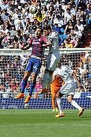 Real Madrid´s Sergio Ramos and Eibar´s Borja Fernandez during 2014-15 La Liga match between Real Madrid and Eibar at Santiago Bernabeu stadium in Madrid, Spain. April 11, 2015. (ALTERPHOTOS/Luis Fernandez)