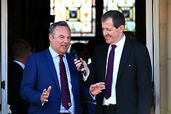 Burnley club chairman Mike Garlick speaks with Alastair Campbell - Mandatory by-line: Matt McNulty/JMP - 09/05/2016 - FOOTBALL - Burnley Town Hall - Burnley, England - Burnley FC Championship Trophy Presentation
