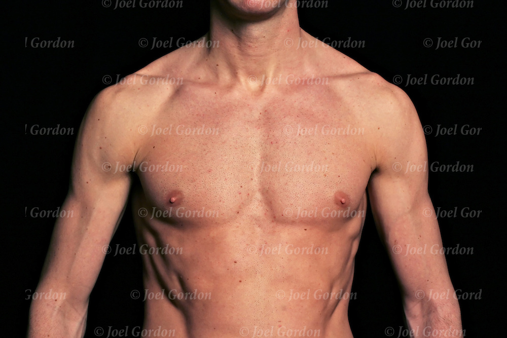 "Caucasian male with pronounced pectoral muscles. Male breasts usually referred to ""the chest"" may or may not be considered erotic areas."
