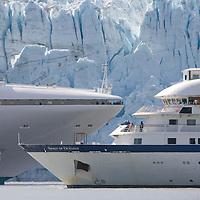 USA, Alaska, Glacier Bay National Park, Cruise ships MV Diamond Princess and Spirit of Oceanus near Margerie Glacier