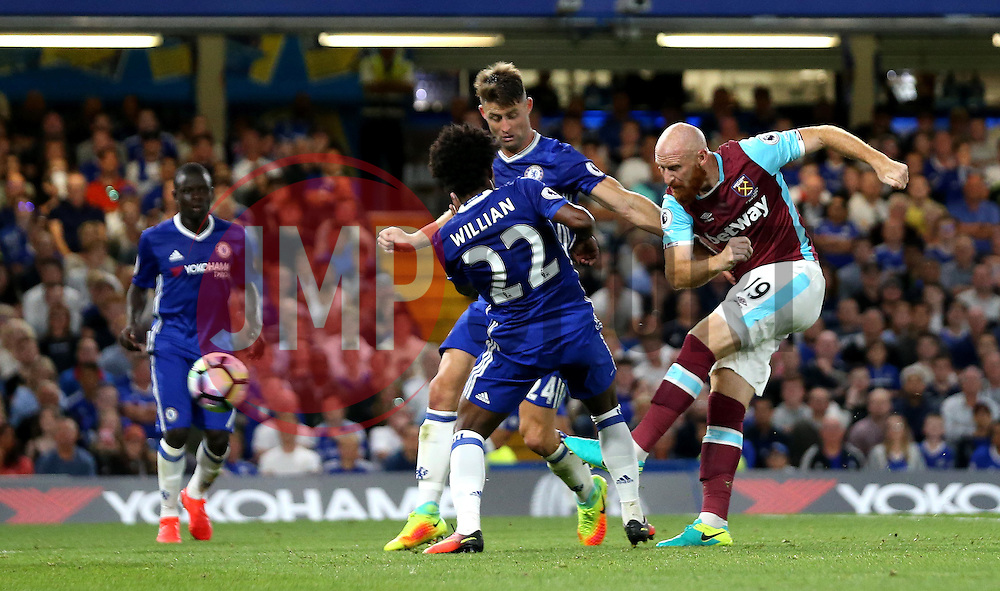 James Collins of West Ham United scores an equalising goal against Chelsea - Mandatory by-line: Robbie Stephenson/JMP - 15/08/2016 - FOOTBALL - Stamford Bridge - London, England - Chelsea v West Ham United - Premier League