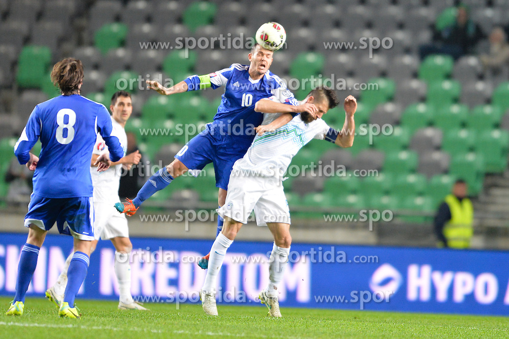 Cesar Boštjan of Slovenia vs Selva Andy of San Marino during football match between NationalTeams of Slovenia and San Marino in Round 5 of EURO 2016 Qualifications, on March 27, 2015 in SRC Stozice, Ljubljana, Slovenia. Photo by Mario Horvat / Sportida