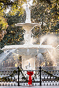 Christmas decoration decorates the Forsyth Park fountain in Savannah, GA.