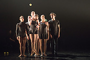 13/01/2015. Dress rehearsal of for the World Premier of Gandini Juggling&rsquo;s new show 4 x 4 Ephemeral Architectures - a sparkling mix of juggling and classical ballet . Linbury Studio Theatre, Royal Opera House, London. Dancers: Kieran Stoneley, Kate Byrne, Erin O'Toole and Joe Bishop.<br /> Jugglers: Kim Huynh, Sakari M&auml;nnist&ouml;, Owen Reynolds and Kati Yl&auml;-Hokkala.
