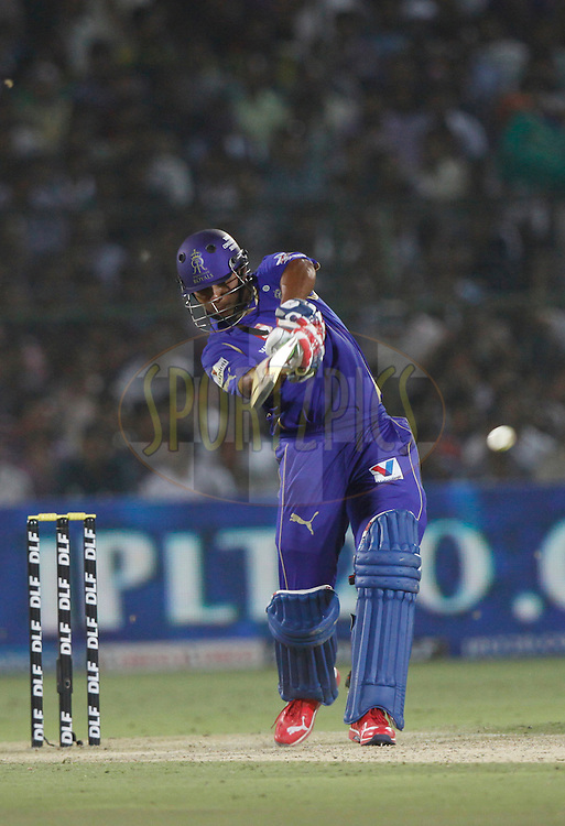 Rajasthan Royals player Stuart Binny play a shot during match 30 of the the Indian Premier League ( IPL) 2012  between The Rajasthan Royals and the Royal Challengers Bangalore held at the Sawai Mansingh Stadium in Jaipur on the 23rd April 2012..Photo by Pankaj Nangia/IPL/SPORTZPICS