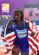 Jarret Eaton (USA) celebrates his silver medal in the Men's 60m Hurdles Final with a time of 7.47 during the final session of the IAAF World Indoor Championships at Arena Birmingham in Birmingham, United Kingdom on Saturday, Mar 2, 2018. (Steve Flynn/Image of Sport)