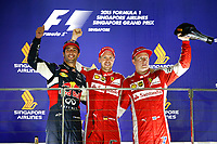 VETTEL sebastian (ger) ferrari sf15t ambiance portrait RICCIARDO daniel (aus) red bull renault rb11 ambiance portrait RAIKKONEN kimi (fin) ferrari sf15t ambiance portrait   podium ambiance    during the 2015 Formula One World Championship, Singapore Grand Prix from September 16th to 20th 2015 in Singapour. Photo Frederic Le Floc'h / DPPI