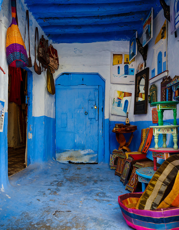 CHEFCHAOUEN, MOROCCO - CIRCA APRIL 2017: Typical souvenir shop of Chefchaouen