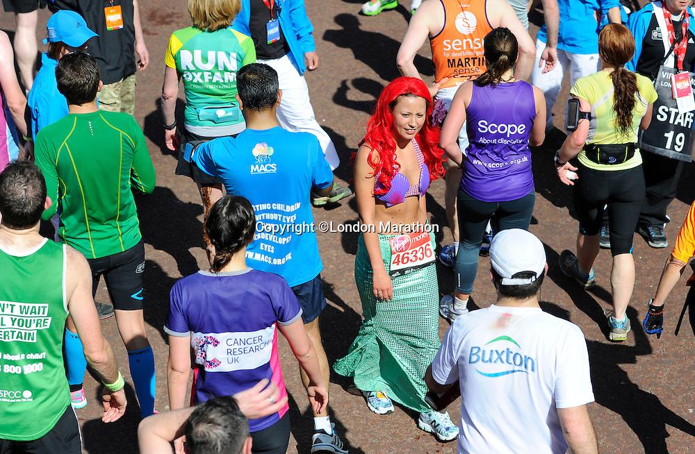Runner dressed as a mermaid<br /> The Virgin Money London Marathon 2014<br /> 13 April 2014<br /> Photo: Javier Garcia/Virgin Money London Marathon<br /> media@london-marathon.co.uk