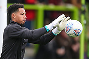 Forest Green Rovers goalkeeper Joe Wollacott(13), on loan from Bristol City warming up during the EFL Sky Bet League 2 match between Forest Green Rovers and Plymouth Argyle at the New Lawn, Forest Green, United Kingdom on 16 November 2019.