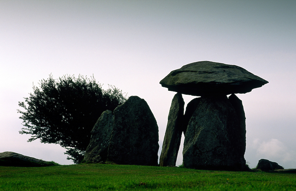 Pentre Ifan prehistoric megalithic stone burial chamber dolmen in the Dyfed region of Wales, United Kingdom