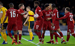 WOLVERHAMPTON, ENGLAND - Monday, January 7, 2019: Liverpool's Divock Origi celebrates scoring the first goal with team-mates during the FA Cup 3rd Round match between Wolverhampton Wanderers FC and Liverpool FC at Molineux Stadium. (Pic by David Rawcliffe/Propaganda)