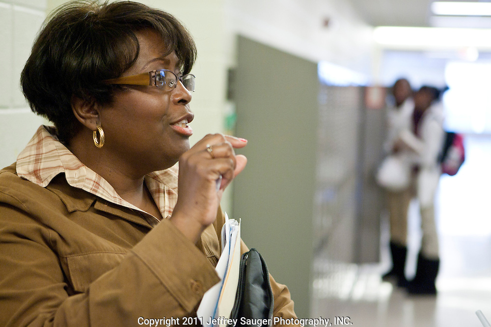 DETROIT, MI - NOVEMBER, 16: Principal Gail Russell-Jones speaks during a surprise visit from Robert C. Bobb, Emergency Financial Manager of Detroit Public Schools, left, at Renaissance High School in Detroit, MI, Tuesday, November 16, 2010.(Photo by Jeffrey Sauger)