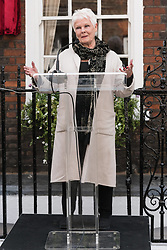 April 27, 2017 - London - Dame Judi Dench unveils an English Heritage Blue Plaque at the London home of Sir John Gielgud where he lived for 31 years. (Credit Image: © Ray Tang/London News Pictures via ZUMA Wire)