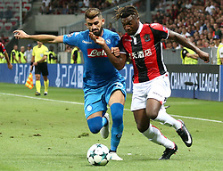 NICE, Aug. 23, 2017  Allan Saint-Maximin (R) of Nice vies with Elseid Hysaj of Napoli during a Champions League playoff round, second leg soccer match between Nice and Napoli in Nice, France, on Aug. 22, 2017. Napoli won 2-0. (Credit Image: © Serge Haouzi/Xinhua via ZUMA Wire)