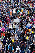 Hundreds of rally participants march east on Pratt St. in downtown Baltimore, MD on Monday, March 26, 2012. The rally was in support of Trayvon Martin, the 17-year-old who was unarmed when he was shot and killed on Feb. 26 by neighborhood watch volunteer George Zimmerman.