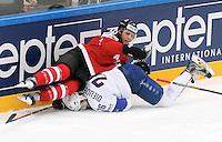 Benjamin Dieude Fauvel / Brayden Schenn - 09.05.2015 - Canada  / France  - Championnats du Monde de Hockey sur Glace 2015 -Prague<br />Photo : Xavier Laine / Icon Sport