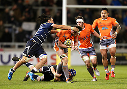 TJ Ioane of Sale Sharks tackles Sean Robinson of Newcastle Falcons - Mandatory by-line: Matt McNulty/JMP - 10/02/2017 - RUGBY - AJ Bell Stadium - Sale, England - Sale Sharks v Newcastle Falcons - Aviva Premiership