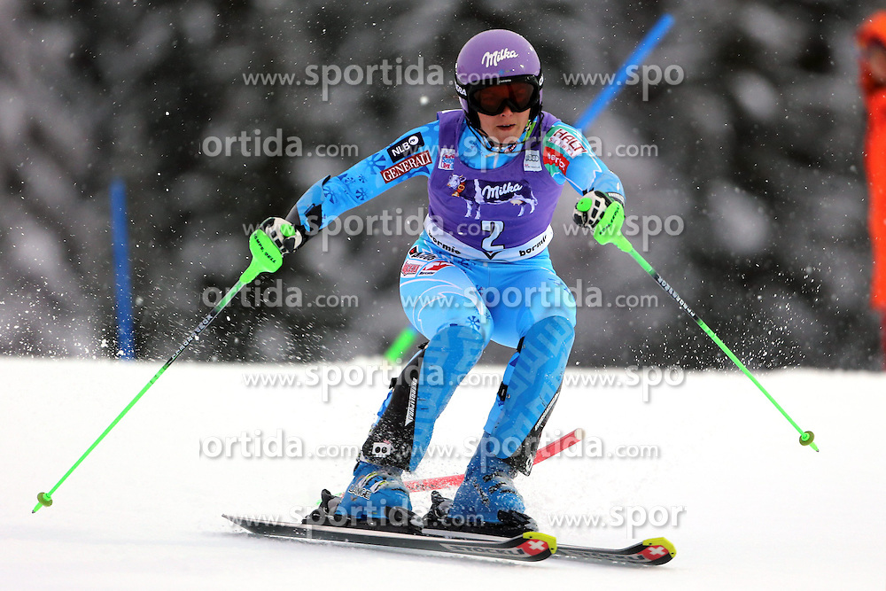 05.01.2014, Stelvio, Bormio, ITA, FIS Ski Alpin Weltcup, Salom, Damen, 1. Durchgang, im Bild Tina Maze // Tina Maze in action during 1st run of ladies Slalom of the Bormio FIS Ski World Cup at the Stelvio Course in Bormio, Italy on 2014/01/05. EXPA Pictures &copy; 2014, PhotoCredit: EXPA/ Sammy Minkoff<br /> <br /> *****ATTENTION - OUT of GER*****