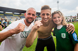 Aljaz Ivacic of NK Olimpija and supporters of Olimpija celebrate after they became Slovenian National Champion 2018 after the football match between NK Domzale and NK Olimpija Ljubljana in 36th Round of Prva liga Telekom Slovenije 2017/18, on May 27, 2018 in Sports park Domzale, Domzale, Slovenia. Photo by Vid Ponikvar / Sportida