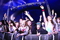 ©under licence to London News Pictures. 31 OCtober 2010 audience members watch the Pendulum DJ set  at the Relentless Freeze Festival 2010, Battersea Power Station, London. Held annually since 2008, Freeze features the world's best snowboarders and skiers  competing on a 32m high, 100m long, real snow ramp. 31 October 2010