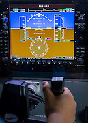 Aviation student Ronald Mejia flies a simulator at Sterling High School, September 5, 2014. Mejia earned his private pilot license in 2013.