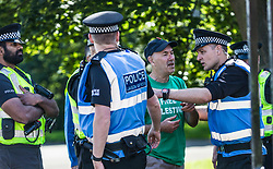 Pro-Palestinian supporters protest against the staging of the Shalom Festival as part of the Edinburgh Fringe Festival.<br /> <br /> The International Shalom Festival is organised by Hadar Galron with the aim of building cultural bridges and celebrate coexistence and peace.