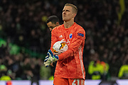 Karl-Johan Johnsson of FC Copenhagen holds onto the ball ahead of the penalty during the Europa League match between Celtic and FC Copenhagen at Celtic Park, Glasgow, Scotland on 27 February 2020.