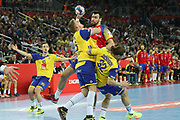 Gedeon Guardiola (Spain) and Linus Arnesson, Mattias Zachrisson (Sweden) during the EHF 2018 Men's European Championship, Final Handball match between Spain and Sweden on January 28, 2018 at the Arena in Zagreb, Croatia - Photo Laurent Lairys / ProSportsImages / DPPI