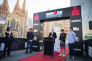 Geoff Meyer (CEO Ironman Asia-Pacific), March 19, 2014 - Ironman Triathlon : At the media conference with The Hon. Louise Asher MP (Victorian State Minister for Tourism and Major Events). Media Conference, Federation Square, Melbourne, Victoria, Australia. Credit: Lucas Wroe