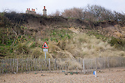 Soft engineering coastal defences at Dunwich, Suffolk, England