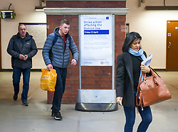 April 13, 2018 - London, London, United Kingdom - TfL Tube strike. ..Commuters seen at Plaistow station...District line commuters face chaos with walkout over driver 'who went through three red lights' set to begin. ..It hopes the line to run at about 60 per cent of capacity during the 24-hour strike, which began at 12.01am this morning and last until 11.59pm. HoweverÊsevere disruption is expected. (Credit Image: © Gustavo Valiente/i-Images via ZUMA Press)