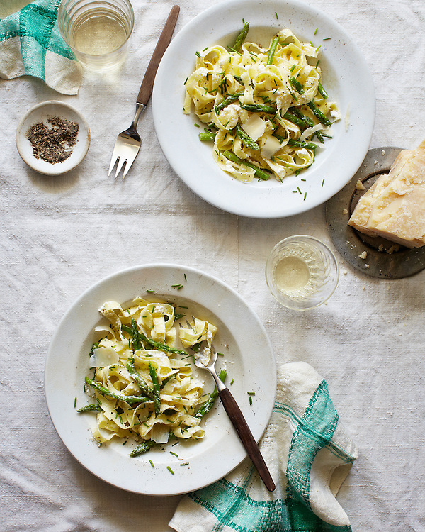 Fettuccine with Asparagus and Ricotta.  The Fresh Market Cookbook