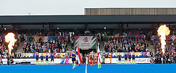The teams walk out before the match. England v The Netherlands - Final Unibet EuroHockey Championships, Lee Valley Hockey & Tennis Centre, London, UK on 30 August 2015. Photo: Simon Parker