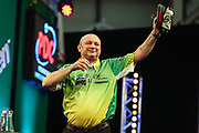 Darren Webster celebrates after beating Antonio Alcinas during the PDC Darts Players Championship at  at Butlins Minehead, Minehead, United Kingdom on 24 November 2017. Photo by Shane Healey.