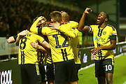 Burton Albion midfielder Jake Hesketh (8) volleys home a goal and celebrates 3-1 as captain Burton Albion forward Lucas Akins (10) punches the air in delight during the EFL Cup match between Burton Albion and Nottingham Forest at the Pirelli Stadium, Burton upon Trent, England on 30 October 2018.