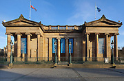 Scottish National Gallery, designed 1850-59 by William Playfair in Neoclassical style with Ionic columns, in Princes St Gardens, in Edinburgh, Scotland. The 2 porticos were originally 2 entrances to the National Galleries of Scotland and the Royal Scottish Academy. Picture by Manuel Cohen